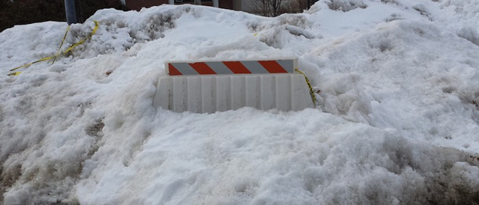 Snow obstructs construction efforts. By Jennifer Newman.