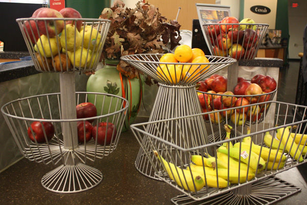 Apples and pears served at Hasbrouck Dining Hall are from local farms and markets. Photo by Courtney Moore.