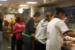 Students line up at Hasbrouck Dining Hall for vegan options, as well as local foods. Photo by Courtney Moore.