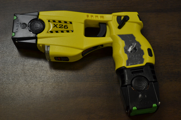 Detective Butler uses one of the two New Paltz Police department Taser X26 models when he is on duty. Photo by Cooper LaRocque