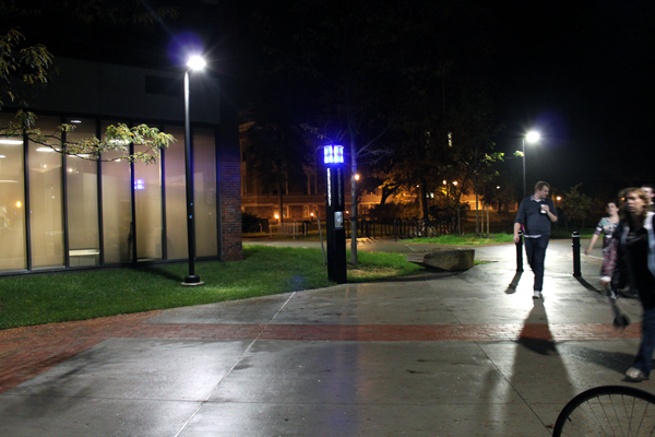 Blue lights sit above emergency phones on the SUNY New Paltz campus. This blue light is located in front of the Jacobson Faculty Tower. Photo by Alicia Buczek