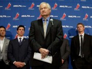 NHLPA head Donald Fehr with players. Photo courtesy of Richard Budman.