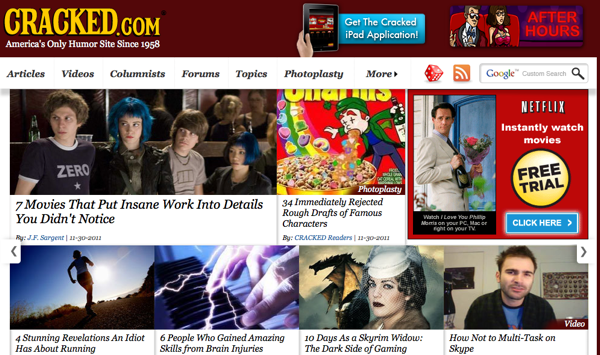 Cracked.com screenshot.