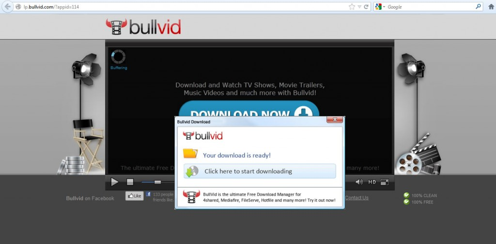An illegal download of BullVid from thepiratebay.se. Photo by The Little Rebellion