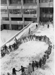 Protesting demolition of environmental site. Dec. 17, 1980.