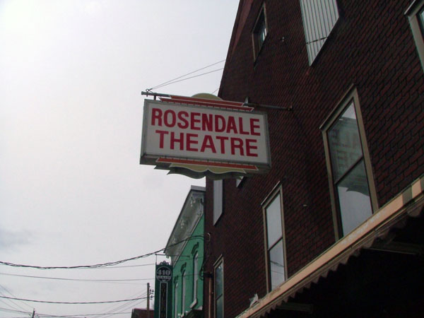 Rosendale Theater sign above entrance to theatre.  Photo by Jason Jones