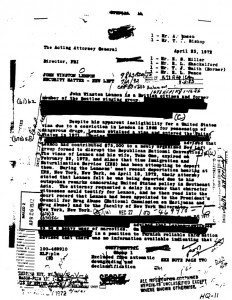 An example of a redacted, or blacked-out, document released after repeated requests by historian John Weiner. This is a letter about the surveillance of John Lennon by J. Edgar Hoover.