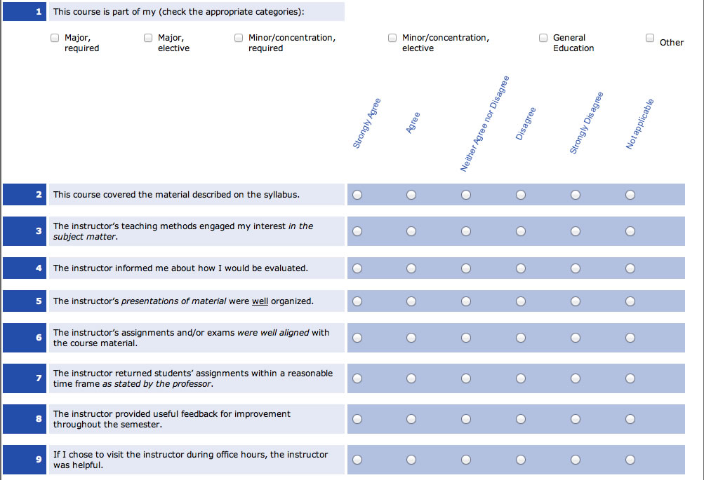 An example of the Student Evaluation of Instruction