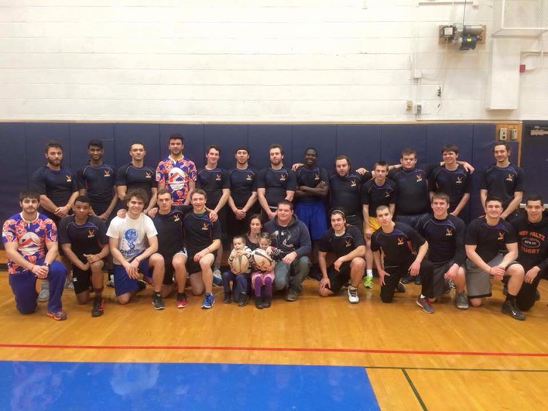 The Bradfords meet the men of the New Paltz Rugby Football Club team.
