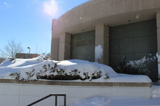 Samuel Dorsky Museum of Art after snow storm. Photo by Kate Bunster.