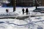 Paths are clearing up for drivers and pedestrians on campus. Photo by Kate Bunster.