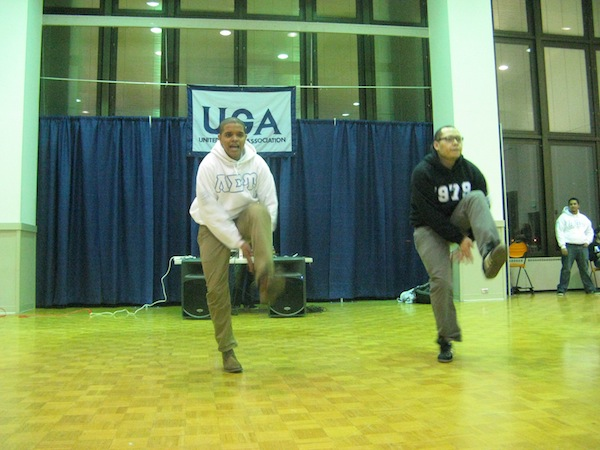 The Brothers of Lambda Sigma Upsilon performing their step. Photo by Caitlin Hiltz
