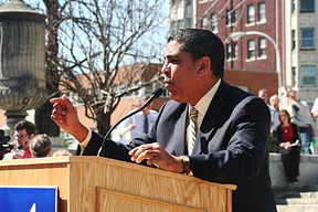 "Sen. Adriano Espaillat voted ""nay"" on every budget bill as an act of protest for not including the DREAM Act or a strong minimum wage agreement in the budget. The Senate Latino Conference all voted against the Education, Labor and Family Assistance bill for not including the DREAM Act. Photo by Gazette file."