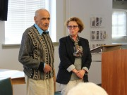 Elmir Frid and his daughter Rita Skibinky at Surviving WWII: Navigating Hitlers Auschwitz in the Honors Center.