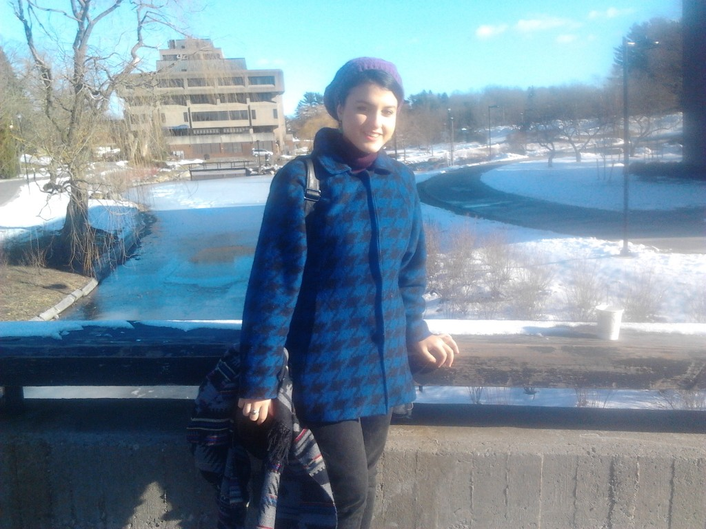 Fenerci on campus during her first semester in New Paltz. Photo courtesy of Armagan Fenerci.