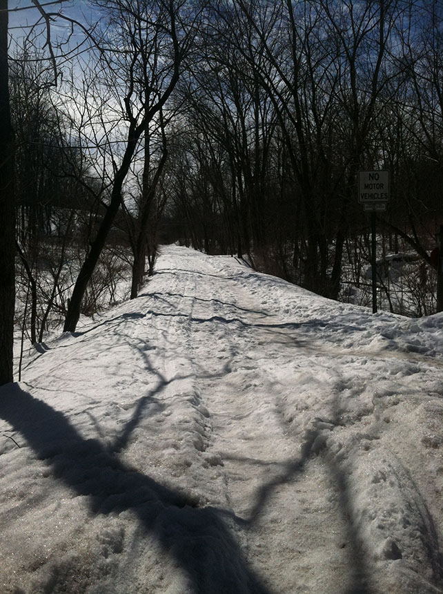 Snow covered rail trail. By Jacqui Harbey.