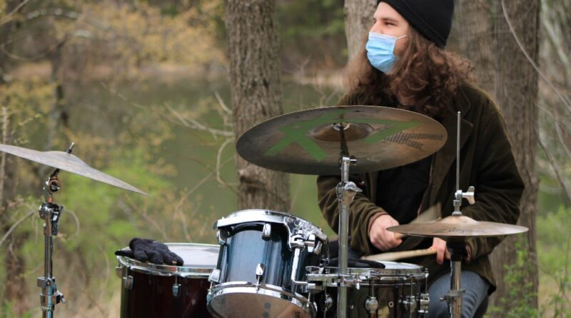 Drummer Alex Endres rehearsing with his band on April 17, 2020 while respecting social-distancing guidelines.
