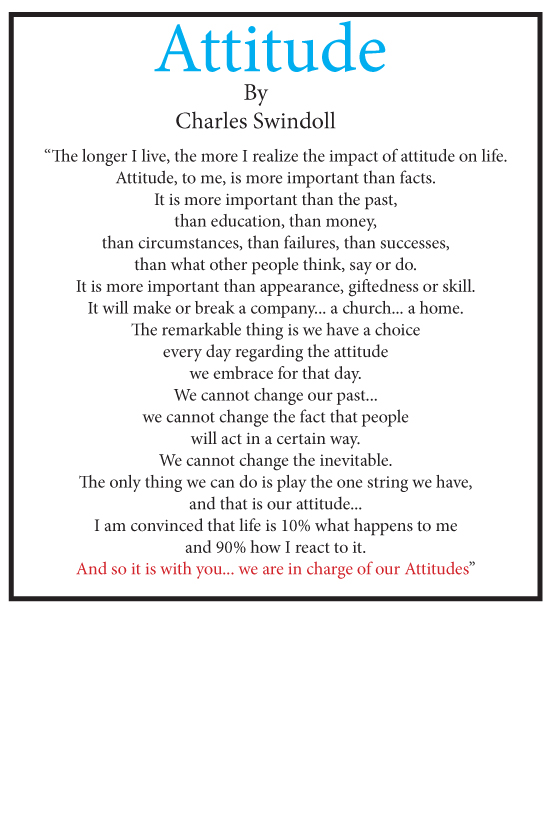 The Poem Attitude By Charles Swindoll The Little