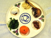 A traditional seder plate containing the symbolic foods eaten on the Jewish holiday. Image by flickr user BethIsrael