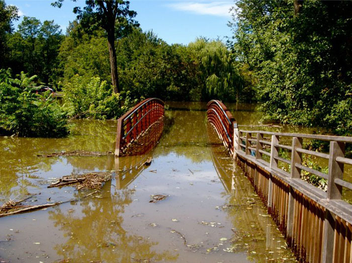 Flooding seen on the New Paltz Rail Trail. Photo by Maggie Rose Melito