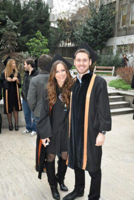 Fourth-year business majors Yesim Uygur and Cihan Onal at a graduation in Istanbul, Turkey. Photo courtesy of Yesim Uygur.