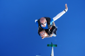 """Johan Rohyo skydiving above New Paltz at """"Skydive the Ranch."""""""