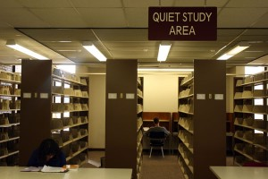 """""""Quiet Study Area"""" of the library, a section on the ground floor specifically designated for silence."""