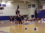 The New Paltz cheerleaders performing at the pep rally. Photo by Maria Schettini
