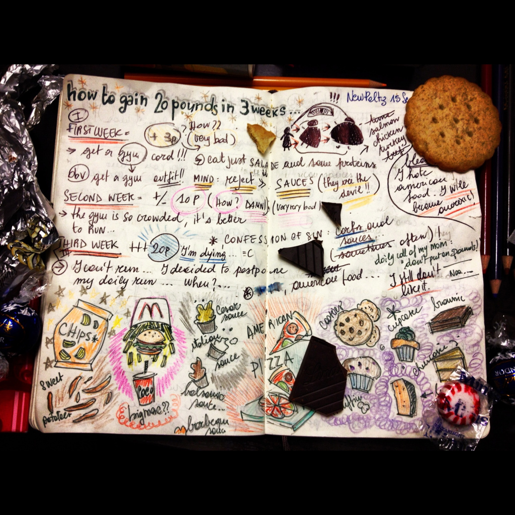 A travel log depicting how to gain 20 pounds in 3 weeks.