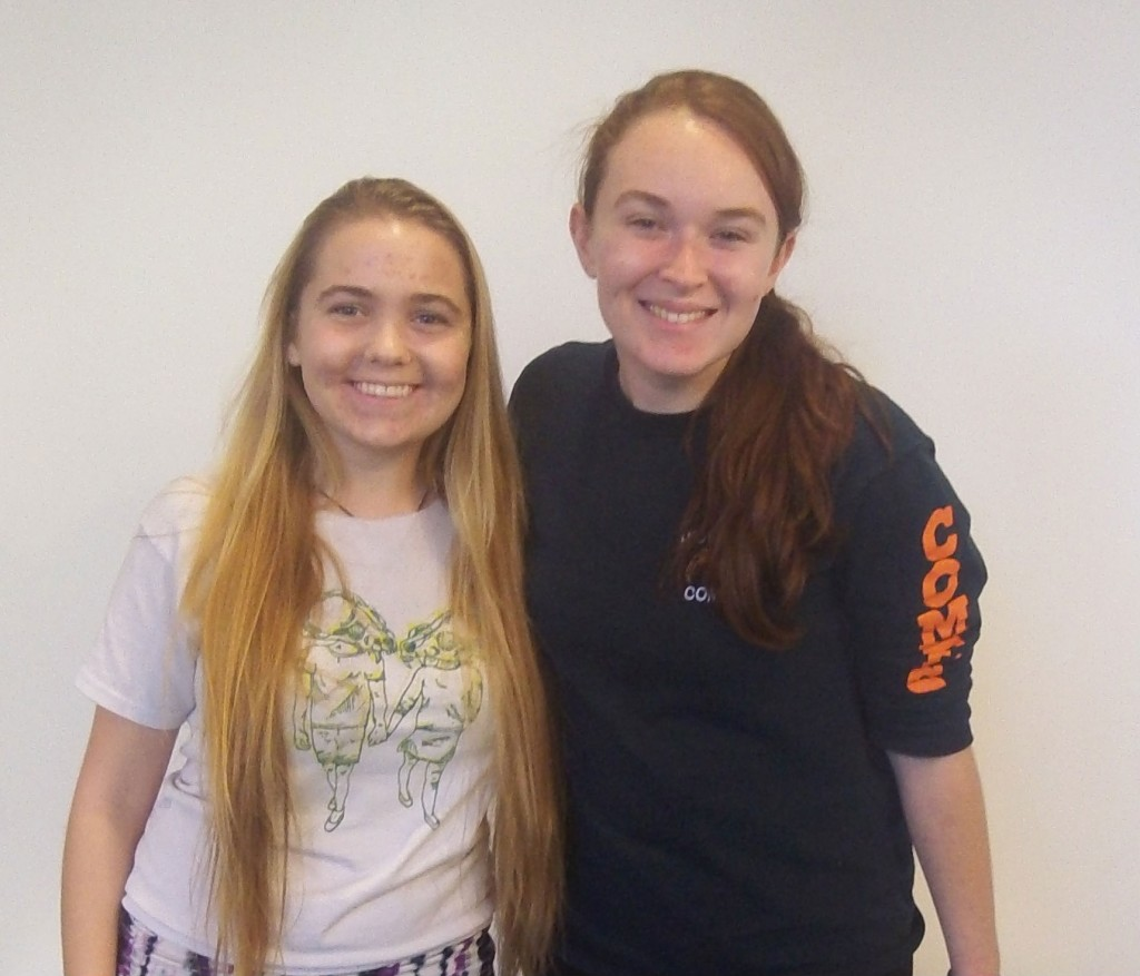 Rosalie Murray and Cait O'Connor, both undeclared first-year students, are the founders of the Body Peace Project on campus. Photo by: Maria Schettini