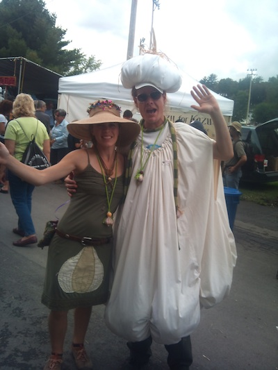 Andy Burke and Britton Davis, both of Gloucester, MA., performed at the festival with their group, One World Puppetry and Performance Art. She was dressed as the Garlic Fairy, and Burke, dressed in a garlic costume, as the Garlic Giant.