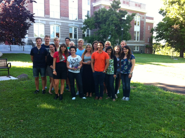 The first photo the IIB students took together after arriving at New Paltz.
