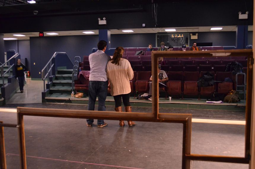 Jenny Berger enters the play space with her scene partner Jeremy Sapadin. Photo by Jillian Nadiak.