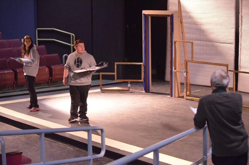 Actor Vinny Craig rehearses with his scene partner. Photo by Jillian Nadiak.