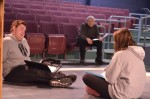 Working lines while sitting down helps the actors get a better feeling for the words. Photo by Jillian Nadiak.