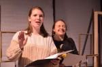 Actors Jenny and Katherine rehearse their scene. Photo by Jillian Nadiak.