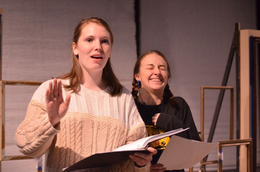 Actors Jenny and Katherine rehearse their scene. Photo by Jillian Nadiak.