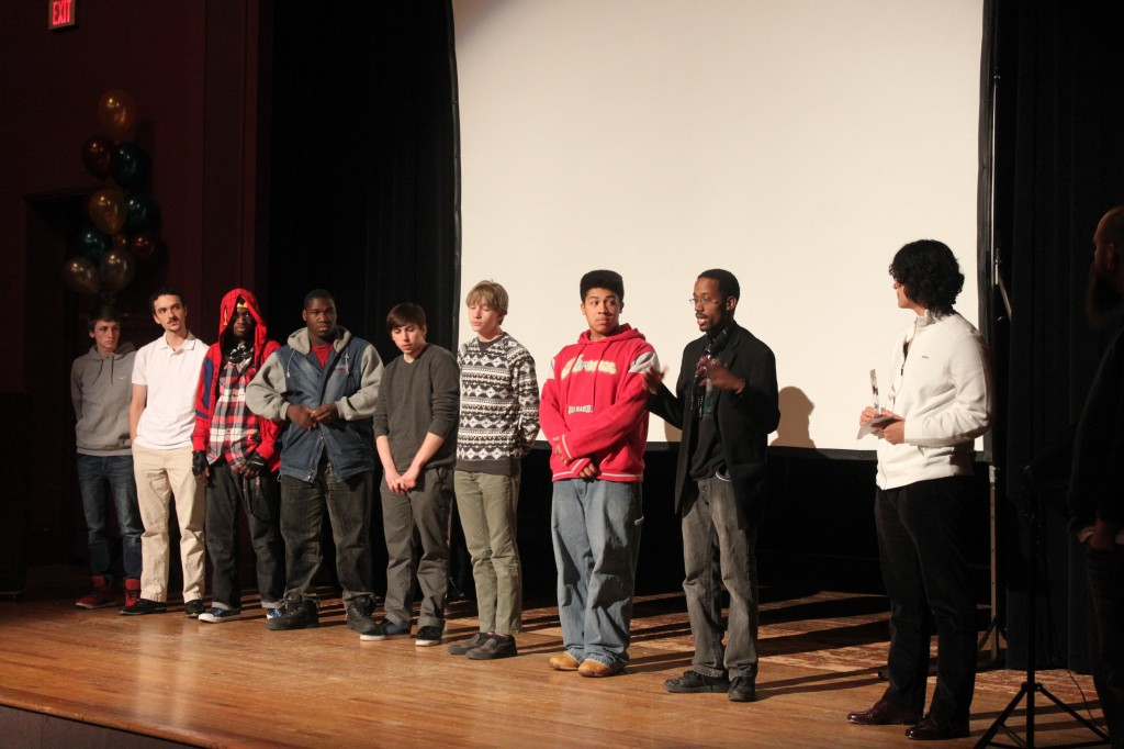 Area contestants participate in a Q& A session after the screening of their films.