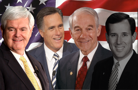 Newt Gingrich, Mitt Romney, Ron Paul, and Rick Santorum race to the finish
