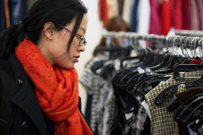 Ying Chan, a 22-year-old college student from Queens, N.Y., tries to stop by the Salvation Army store every time she visits New Paltz. Photo by Roberto LoBianco.