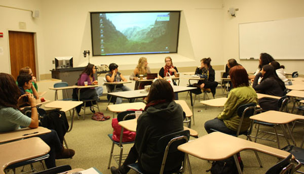 "A total of 15 female students attended the first ""Voice for Choice"" meeting Wednesday night in LC 113. Photo by Neil Button"