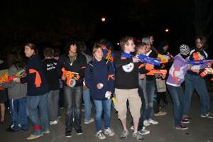 Humans vs Zombies play continues at night.